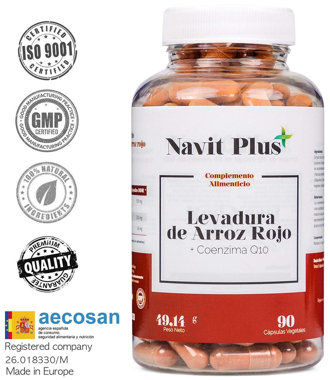 Levadura de arroz rojo alta concentración + 30mg de Coenzima Q10 por cápsula | 90 cápsulas vegetales | Regula el Colesterol | Antioxidante natural ...