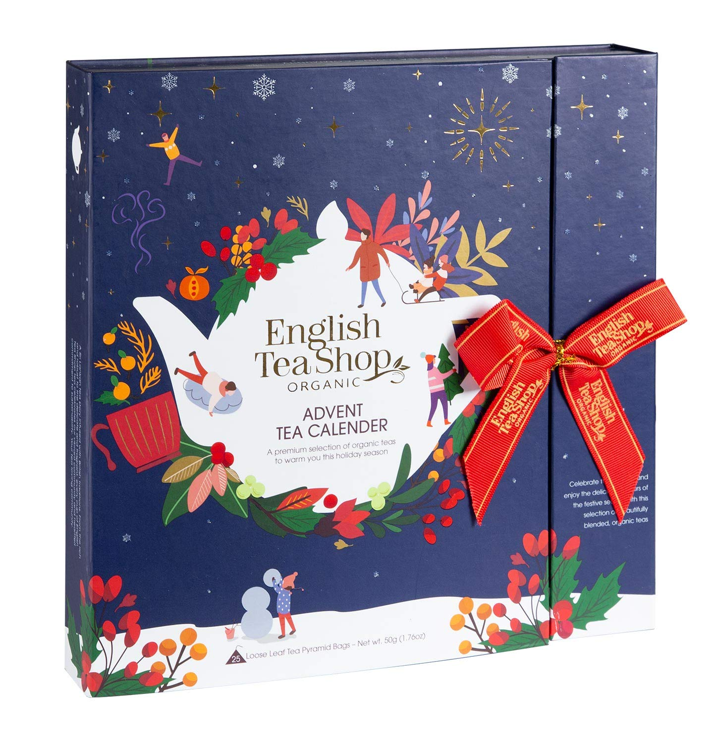 English Tea Shop - Book Style Christmas Night - Advent Calendar - 25 Pyramid Tea Bags, 50g
