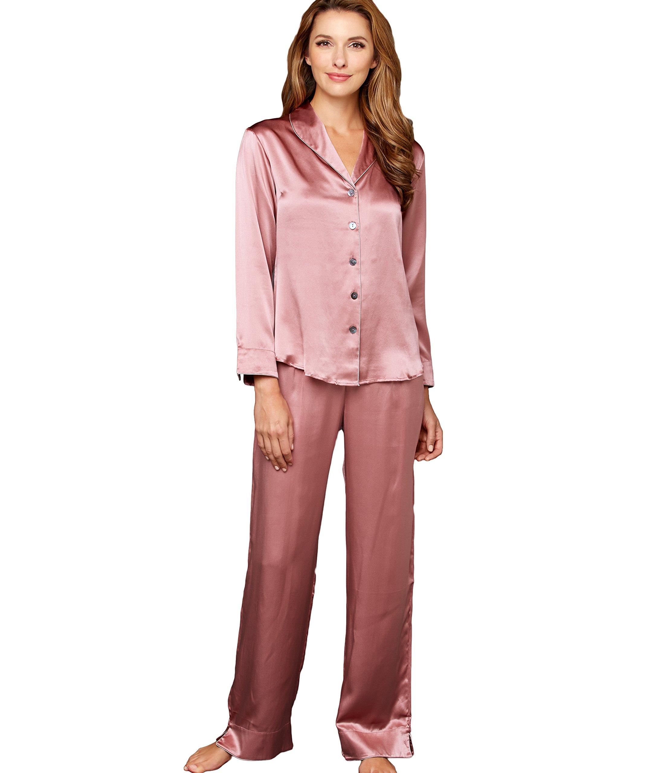 Julianna Rae Natalya Women's 100% Silk Pajamas, Petite, Kirsch, MP by Julianna Rae
