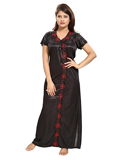TUCUTE Women Satin Night Gown (Black) (Free Size) D.No.1115  Amazon.in   Clothing   Accessories 29368f057