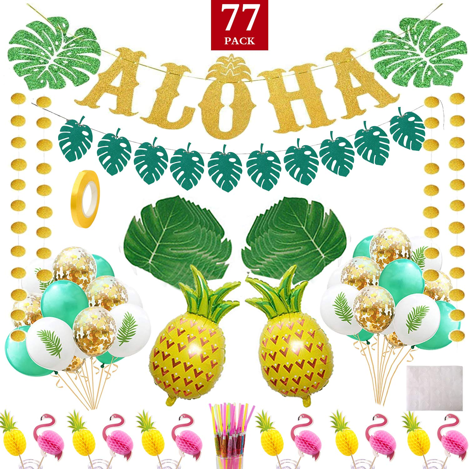 Luau Party Supplies-Hawaiian Aloha Theme Party Decorations Include Gold Glittery Aloha and Shiny Green Leaves Banner,Palm leaves Cake Topper Balloons Straw for Summer Luau Birthday Party 77 packs