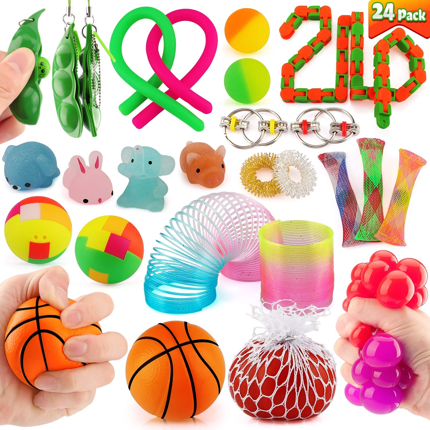 24 Pack Sensory Toy Fidget Stress Relief Toy for Adults and Kids Perfect for ADHD, Anxiety, and Autism