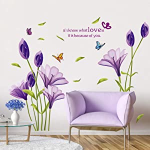 RW-7244 Removable 3D Purple Lily Flowers Wall Decals Floral Butterflies Wall Stickers Peel and Stick DIY Wall Art Decor for Kids Girls Baby Bedroom Nursery Living Room TV Wall Home Decoration