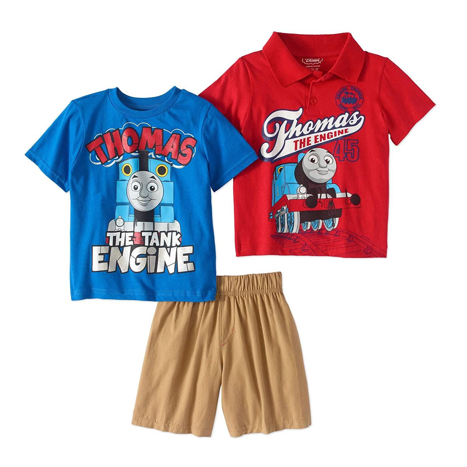 Thomas The Train Toddler Boys Polo Shirt T Shirt Shorts 3PC Outfit Set