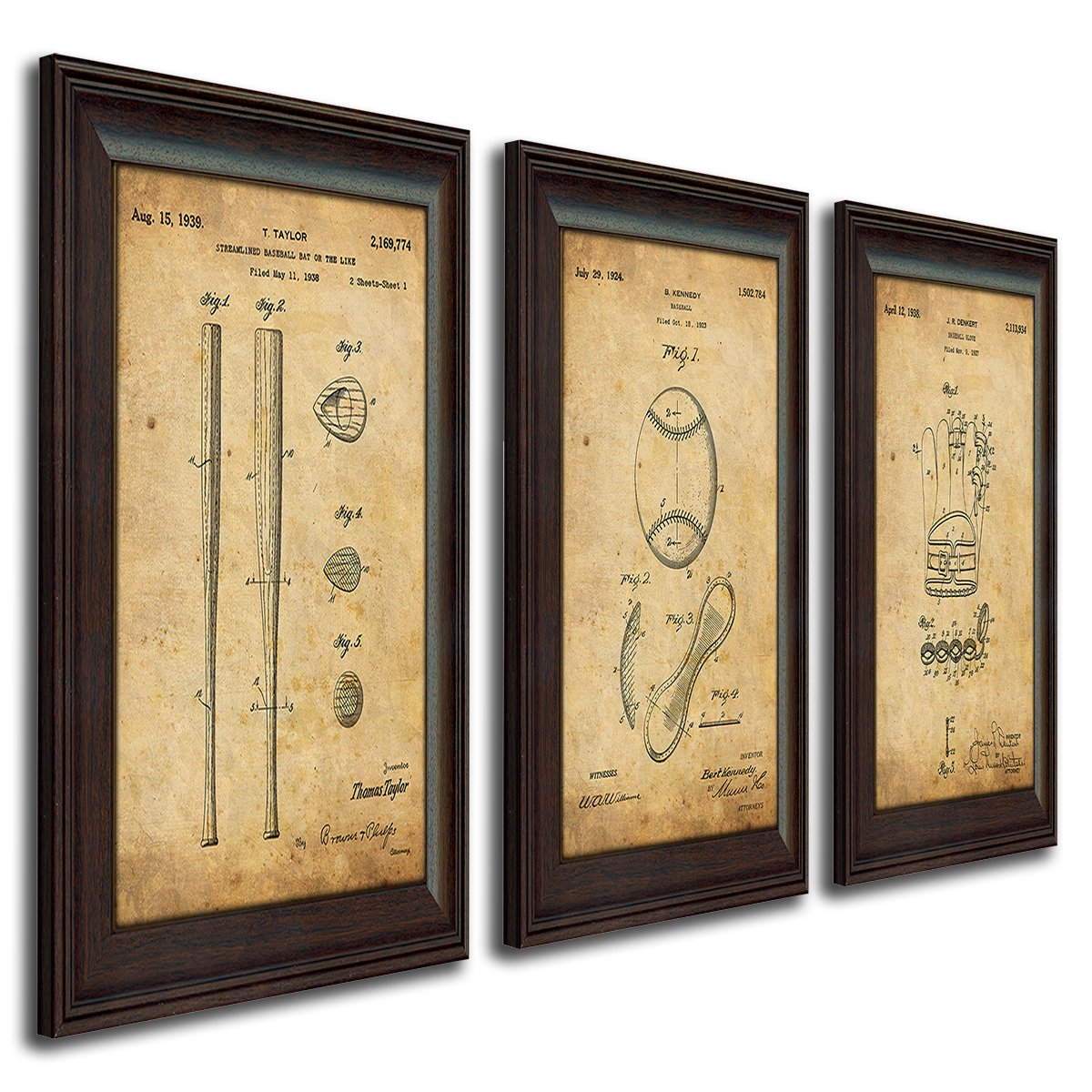 3 pc Framed Modern Patent Set - Baseball 14''x17'' by Personal Prints