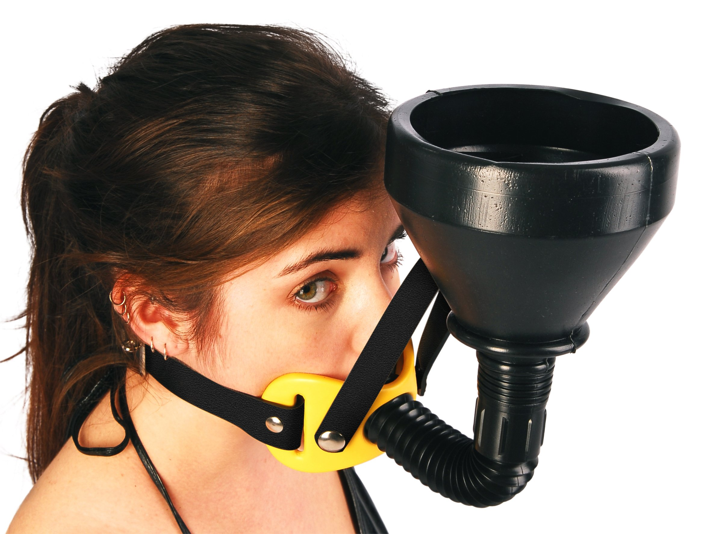 The Original - Funnel GagTM - Latrine - Beer Bong (Black Leather - Yellow Coated Pad) by Midnight Blue's