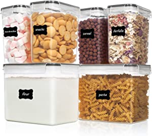 Vtopmart Airtight Food Storage Containers 6 Pieces - Plastic BPA Free Kitchen Pantry Storage Containers for Sugar,Flour and Baking Supplies - Dishwasher Safe - Include 24 Labels, Black