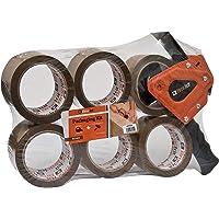 MT2259 - Brackit bruine verpakkingstape met dispenser, 48 mm x 66 m, 6 rollen - sterke zware verpakkingstape voor…