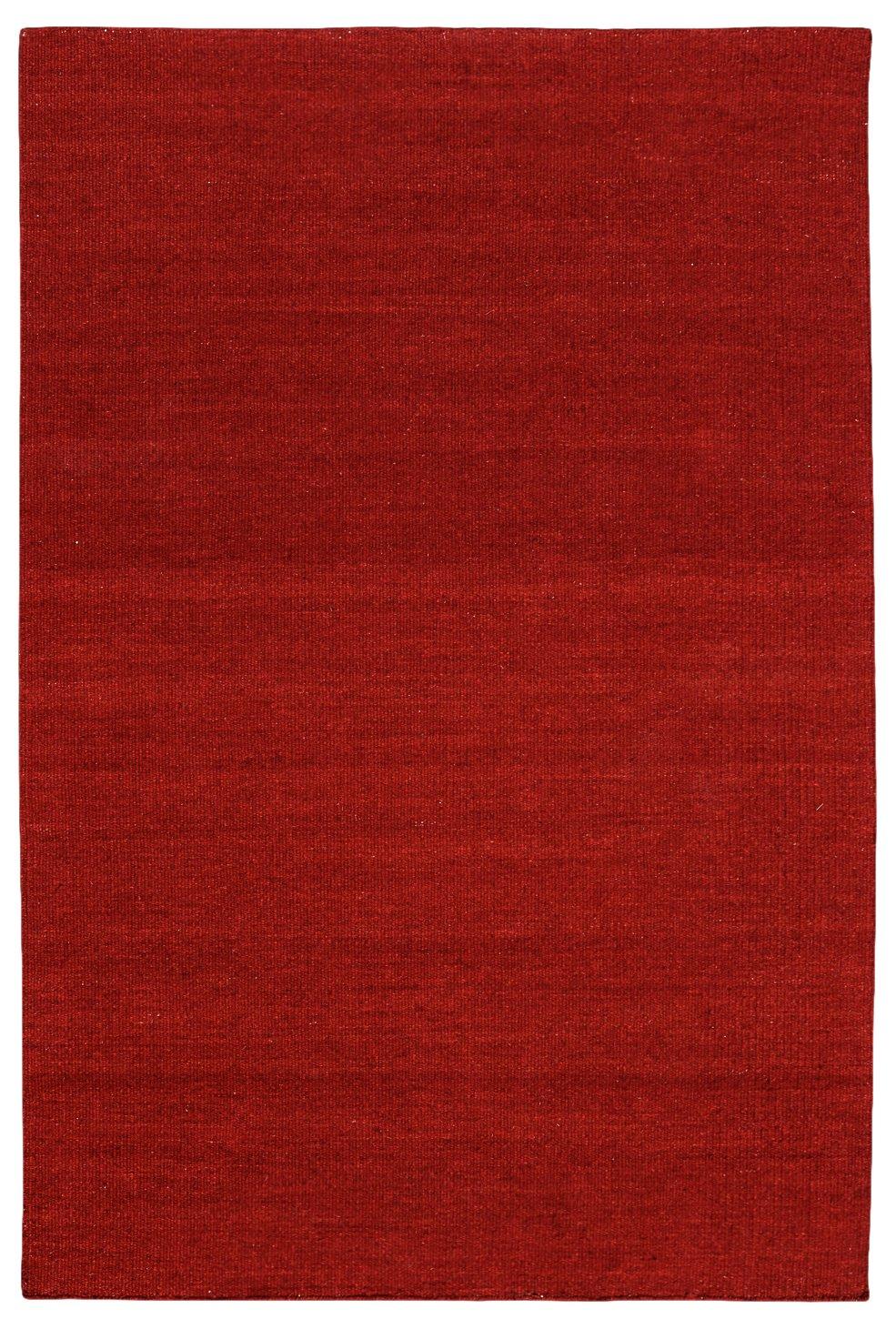 Morgenland Kelim Teppich FANCY 180 x 120 cm Rot Dunkelrot Einfarbig Uni Kurzflor Handgewebt 100% Schurwolle Webteppich Kinderteppich Beidseitig verwendbar Für Wohnzimmer Kinderzimmer Bad Flur Indoor Outdoor - In 11 versch. Farben, Viele Größen