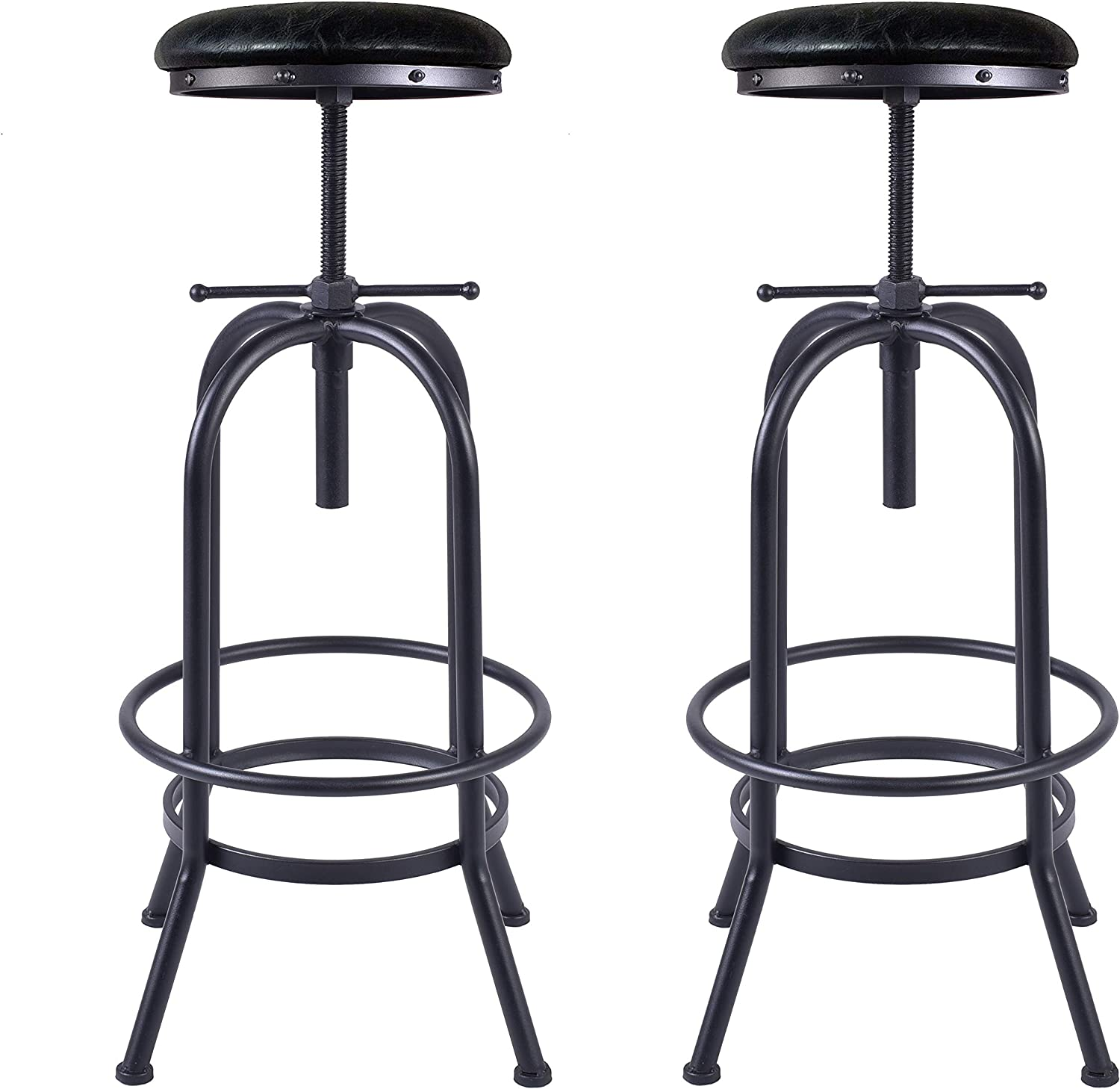LOKKHAN Set of 2 Industrial Bar Stool-Swivel PU Leather Seat,Adjustable Metal Bar Stool,Kitchen Counter-Pub Height, 29-35 Inch Extra Tall Bar Stool,Fully Welded