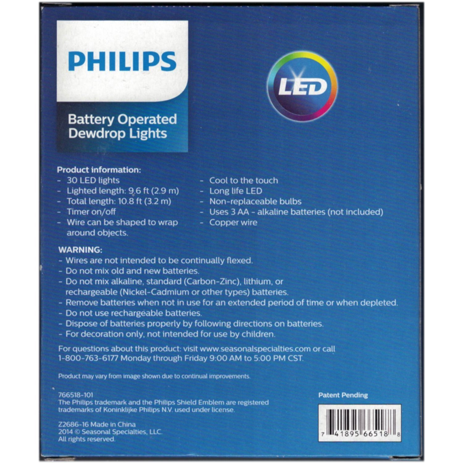 Philips 30ct Battery Operated Dew Drop Led Lights Blue T