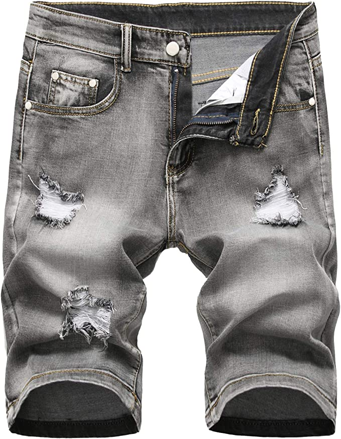 GARMOY Mens Casual Ripped Denim Shorts Jeans Distressed Stretchy Jeans Shorts Pants