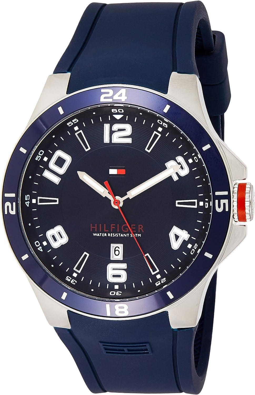 Tommy Hilfiger Blake - Reloj de Cuarzo para Hombre, Correa de Silicona Color Azul