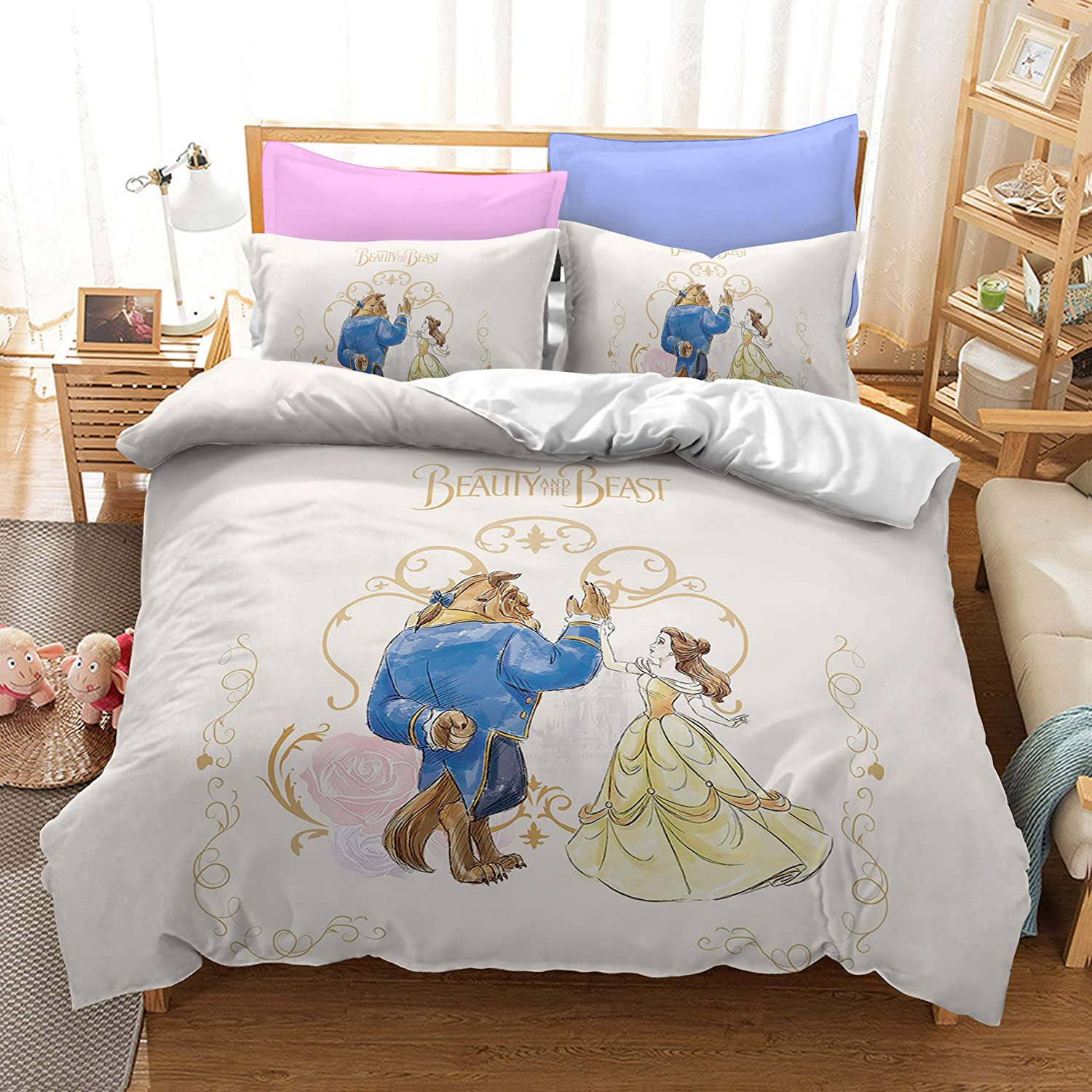 Amazon Com Mulmf Beauty And The Beast Printed Girls Quilt Comforter Sets With Pillowcases Child Bedding Queen 3 Pcs Home Kitchen