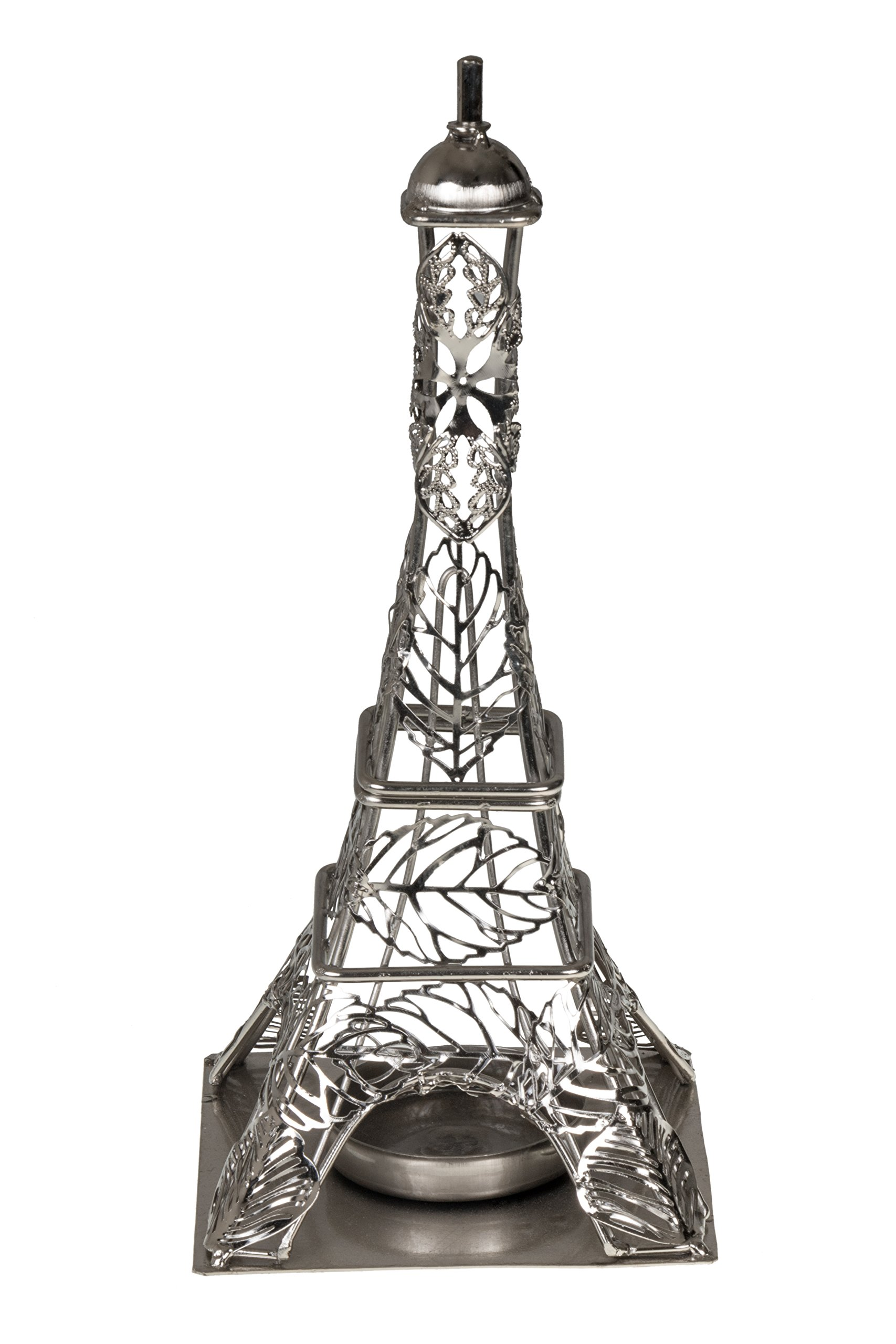 Eiffel Tower Shaped Decorative LED Candle Holder by Clever Creations | Metal Design Fits Any Decor Theme | Includes LED Light String | Stainless Steel | Measures 4'' x 4'' x 9.5'' | Battery Powered