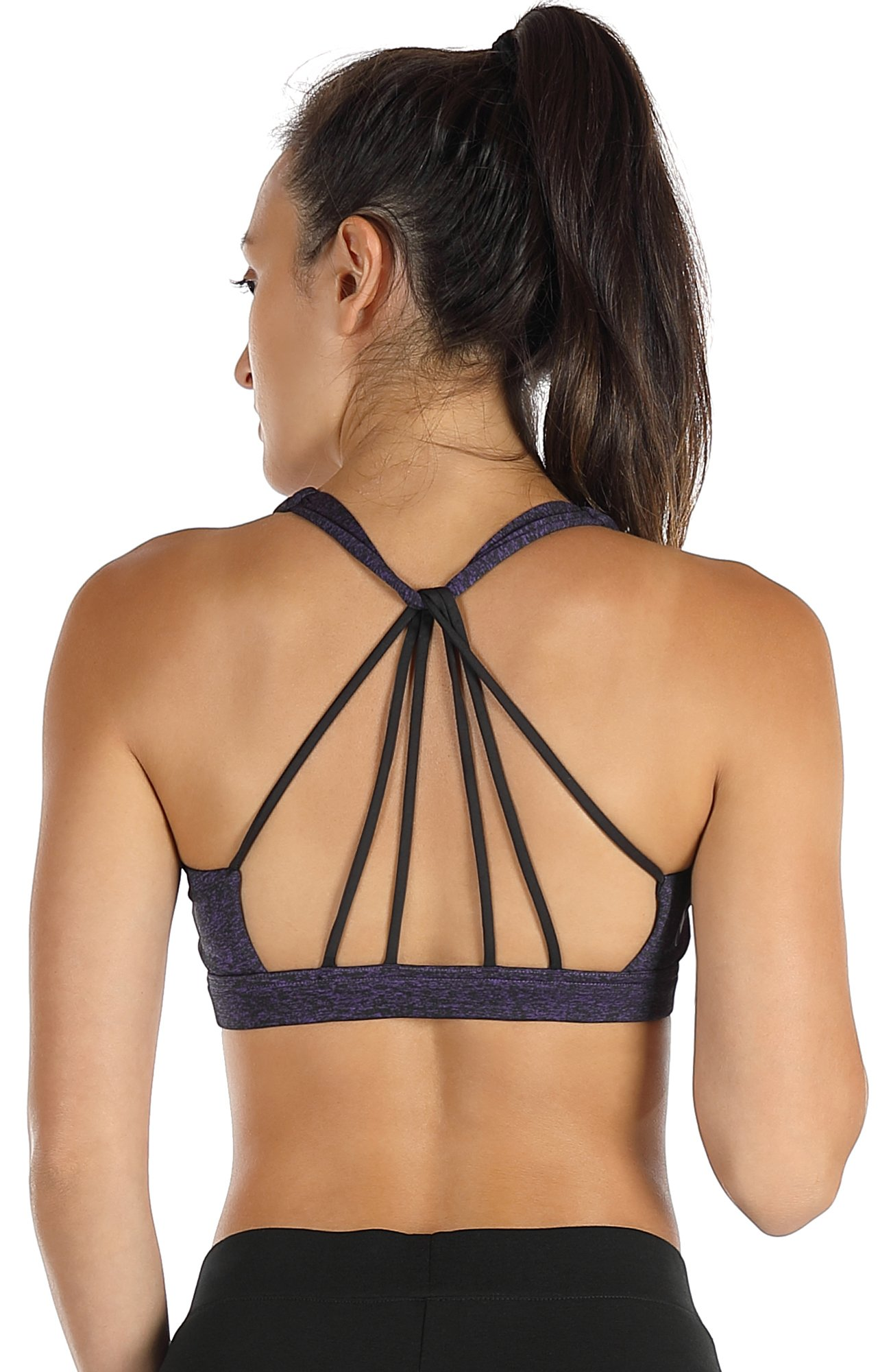 icyzone Padded Strappy Sports Bra Yoga Tops Activewear Workout Clothes for Women (M, Purple) by icyzone
