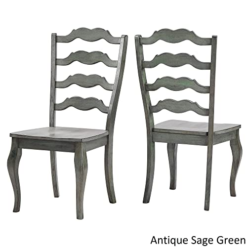 Inspire Q Eleanor French Ladder Back Wood Dining Chair Set of 2 by Classic Sage Antique