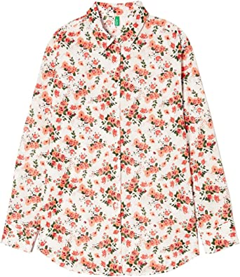 United Colors of Benetton Floral Print Shirt Camisa, Naranja (Orange), Small para Mujer: Amazon.es: Ropa y accesorios