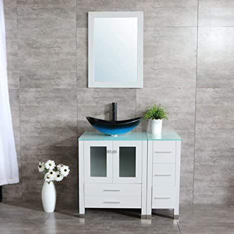 Amazon Com Wonline 36 White Modern Wood Bathroom Vanity Cabinet Oval Tempered Glass Vessel Sink Orb Faucet Drain Combo Design With Mirror Modern Vanities Set Kitchen Dining