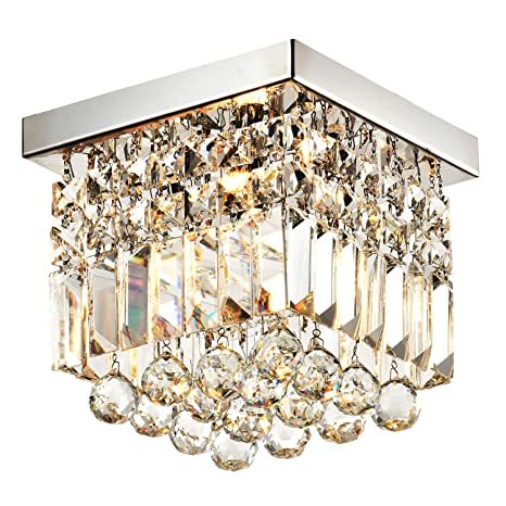 Moooni hallway crystal chandelier 1 light w8 mini modern square moooni hallway crystal chandelier 1 light w8quot mini modern square flush mount ceiling light aloadofball Image collections