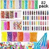 Candygirl Slime Supplies Kit,82 pack Slime Stuff Charm Include Foam Balls, Fishbowl Beads, Glitter, Fruit Slices, Pearls, Christmas Gift, DIY Slime Making Kit, Girl Slime Party