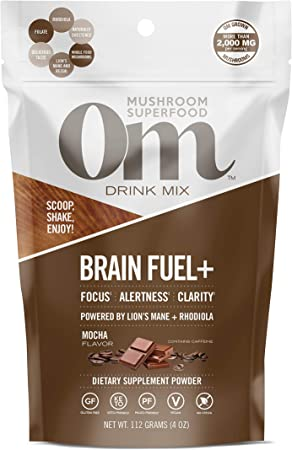 Om Mushroom Superfood Drink Mix, Brain Fuel Plus, Mocha, 4 Ounce (15 Day Supply), Lions Mane & Rhodiola, Memory & Focus Support Supplement