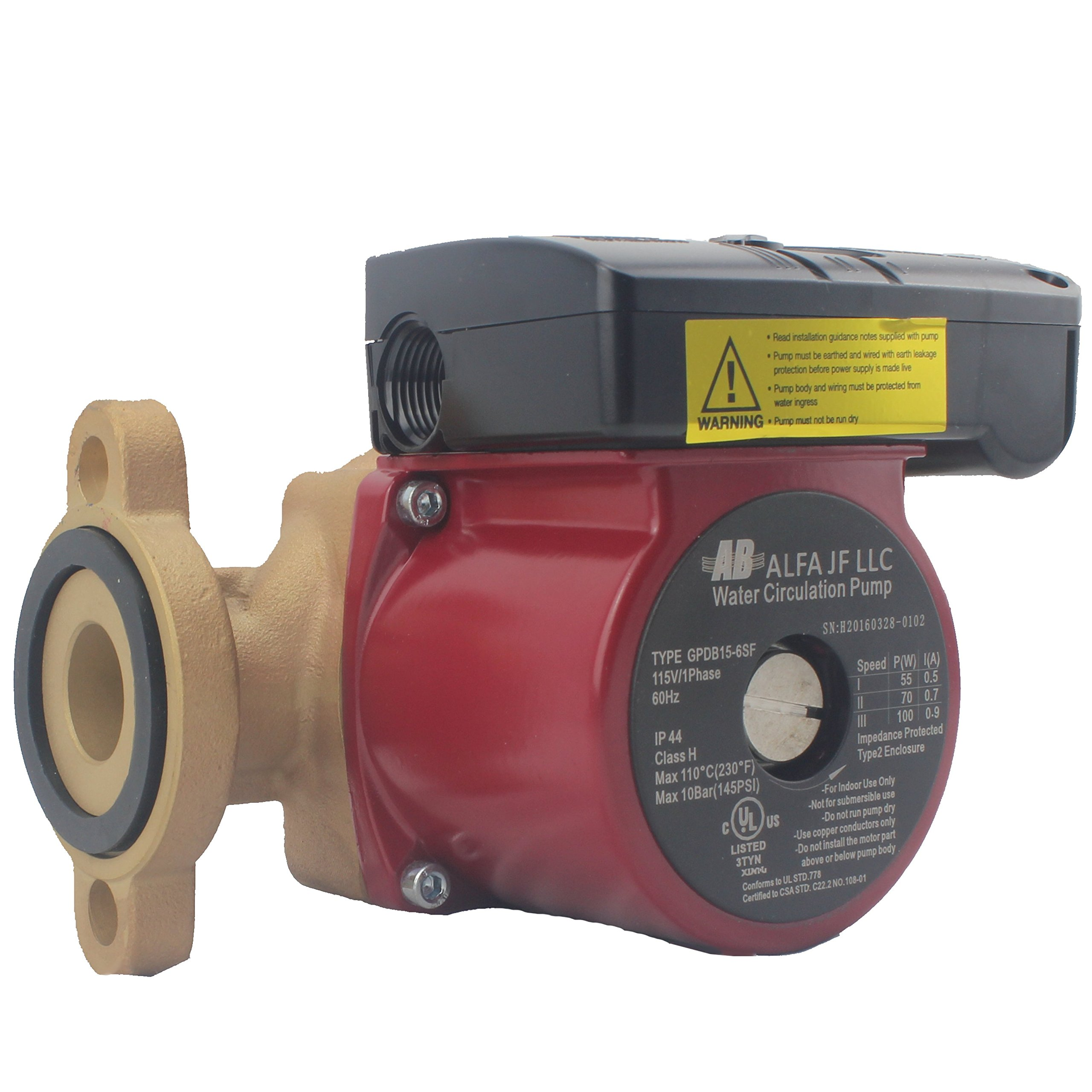 Recirculating Pump Bronze 3 Speed for Domestic Hot Water Heating, Floor Heating, Snow Melting by AB