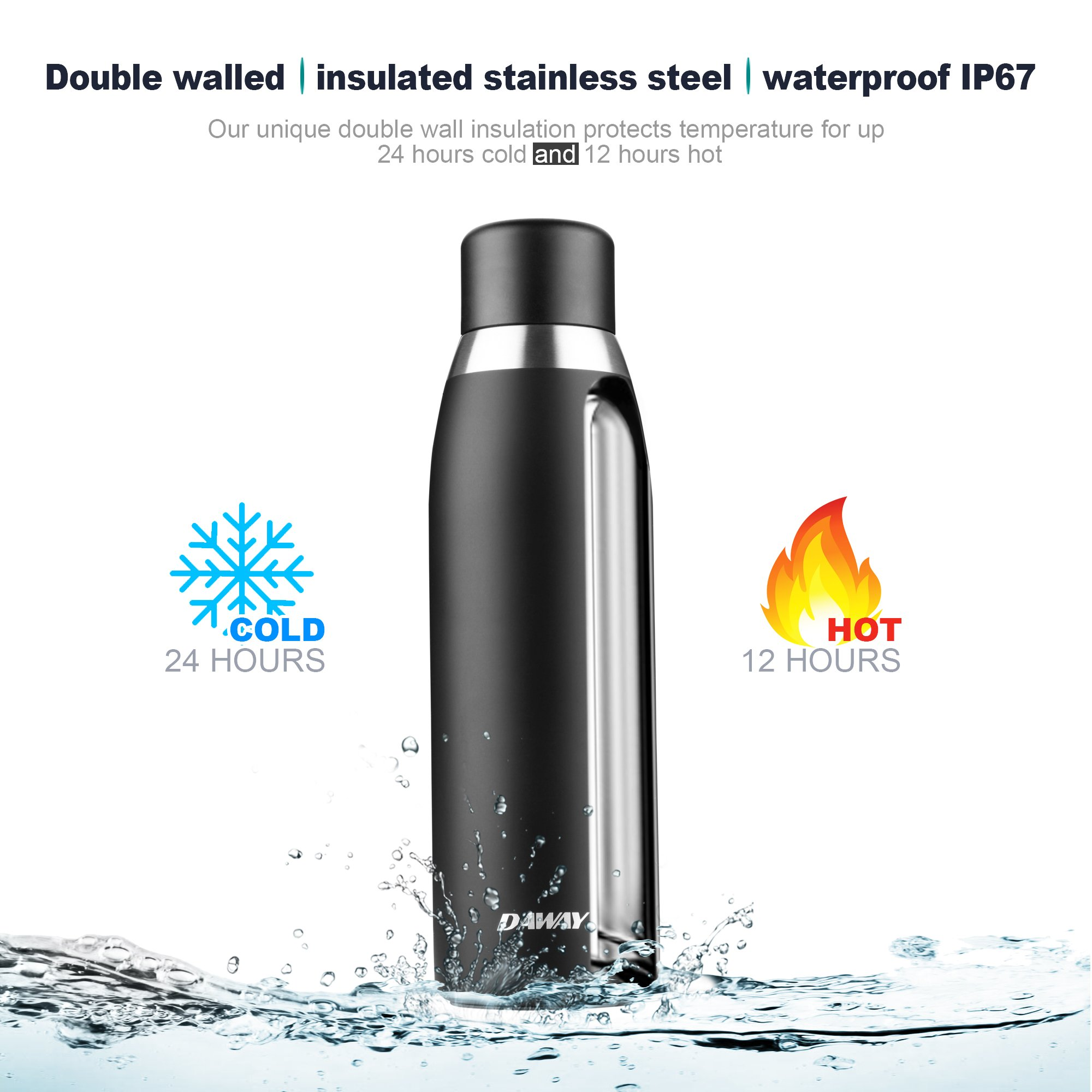 Reusable Smart Water Bottle Rechargeable - DAWAY G3 Stainless Steel Vacuum Insulated Water Bottle, Leak Proof, Double Wall, Keep Drink Hot & Cold, Temperature Display, Alarm Reminder, with Holder Bag by DAWAY (Image #2)