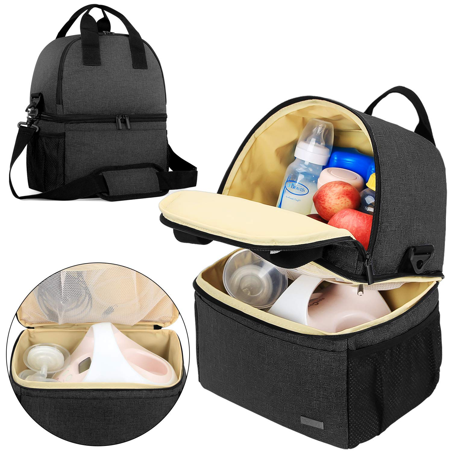 Teamoy Breast Pump Bag Tote with Cooler Compartment for Breast Pump, Cooler Bag, Breast Milk Bottles and More, Double Layer Pumping Bag for Working Moms, Black(Bag Only) by Teamoy
