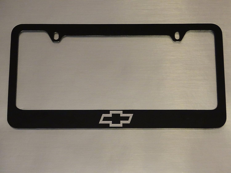 Chevy Logo Black Metal License Plate Frame