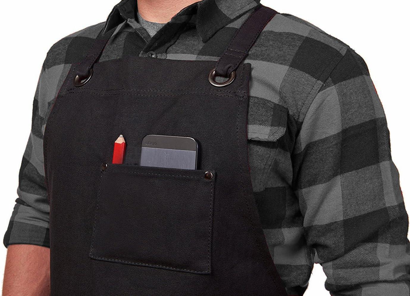 Sch/ürze verstellbar strapazierf/ähig gewachstes Segeltuch Dadidyc Werkzeugsch/ürze mit Taschen Arbeitssch/ürze f/ür M/änner und Frauen OneSize grau