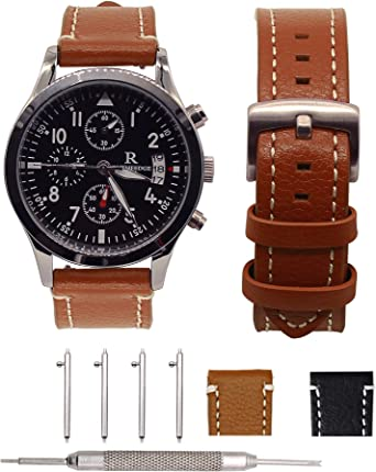 18MM Leather Bands for Huawei Watch 1,Adeals Quick Release Top Grain Genuine Leather 18mm Smart Watch Band Strap Women Men Bands for Fossil Q Venture ...