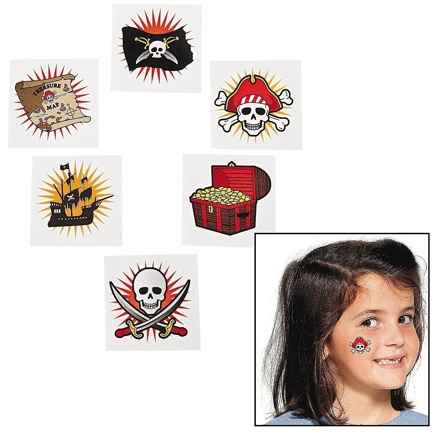 Fun Express Pirate Temporary Tattoos (Party Pack: 216 Pieces)