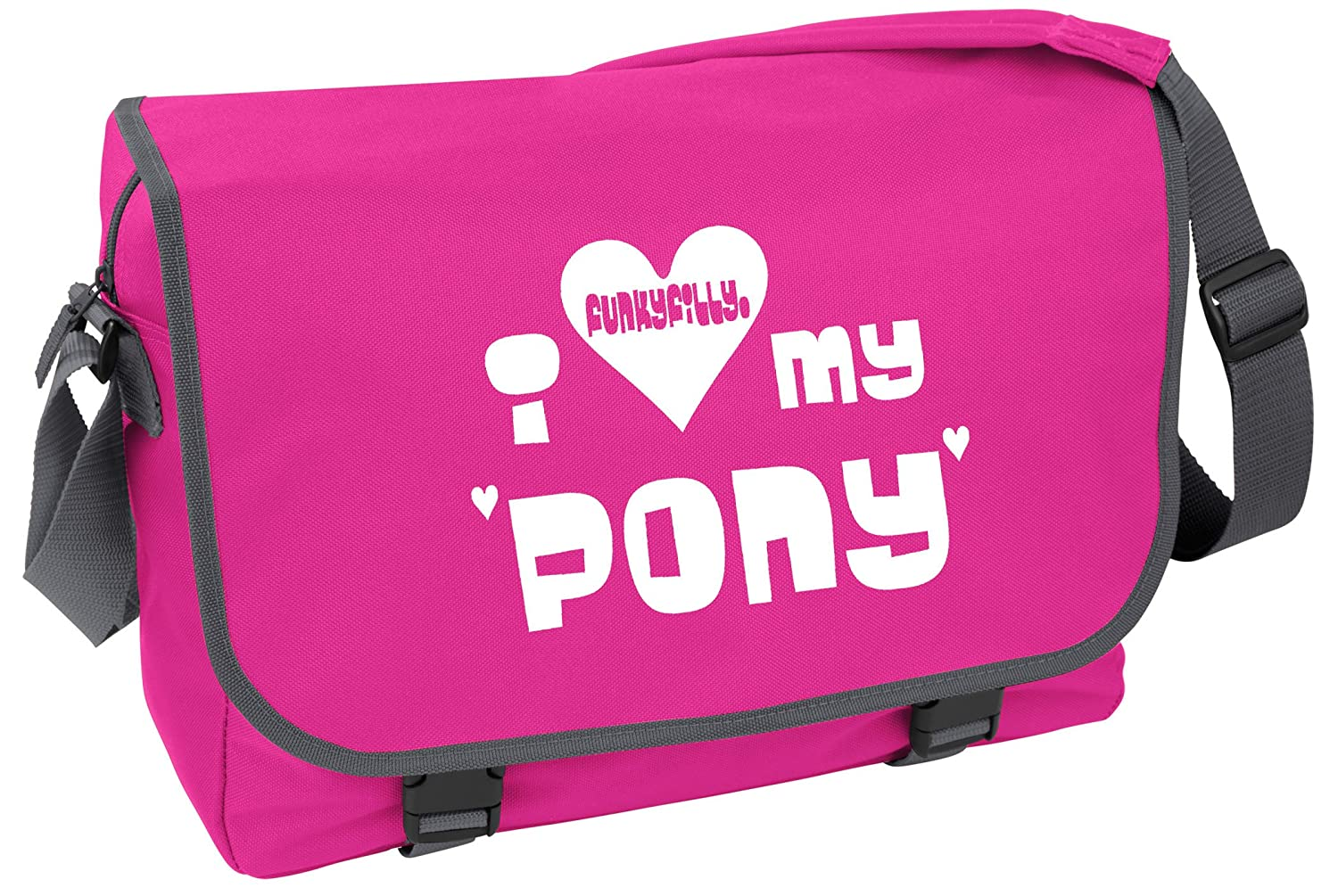 Funky Filly Horse Girls  I love My Pony  A4 School College Messenger ... 0e3fed27076fe