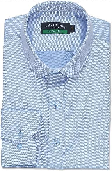 WhitePilotShirts Paliducho Anteojeras Estilo Centavo Redondo Club Cuello Azul Cielo Dobby 100% Algodón Camisa Hombre 100-01 Regalo Nuevo: Amazon.es: Ropa y accesorios