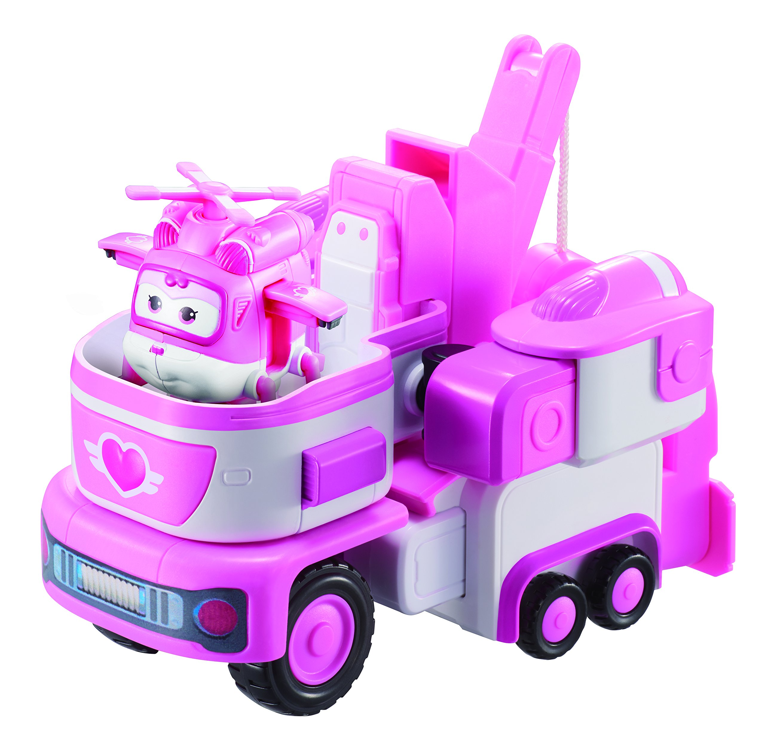 Super Wings - - Rescue Tow | Toy Vehicle Set | , Includes Transform-a-Bot Dizzy Figure | 2'' Scale