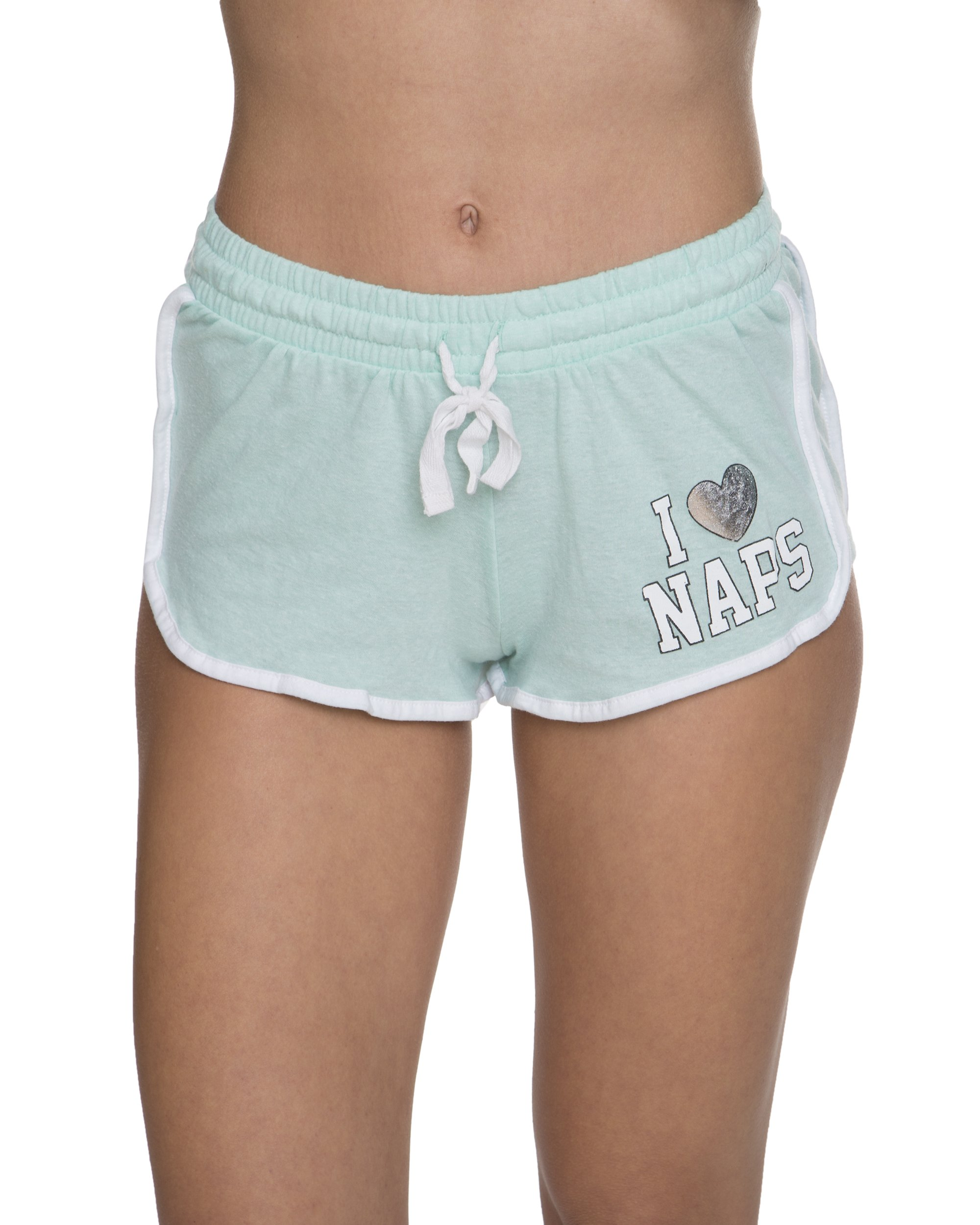 Sleep & Co. Womens Pajama Sleepwear Varsity Shorts with Naps Graphic Mint Heather Medium
