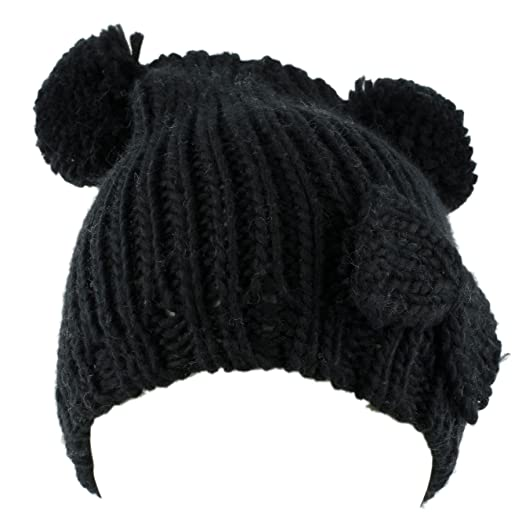 Amazon.com  Knitted Beanie Hat with Two Pom Poms and Bow (Black)  Clothing 23ca402f2c9
