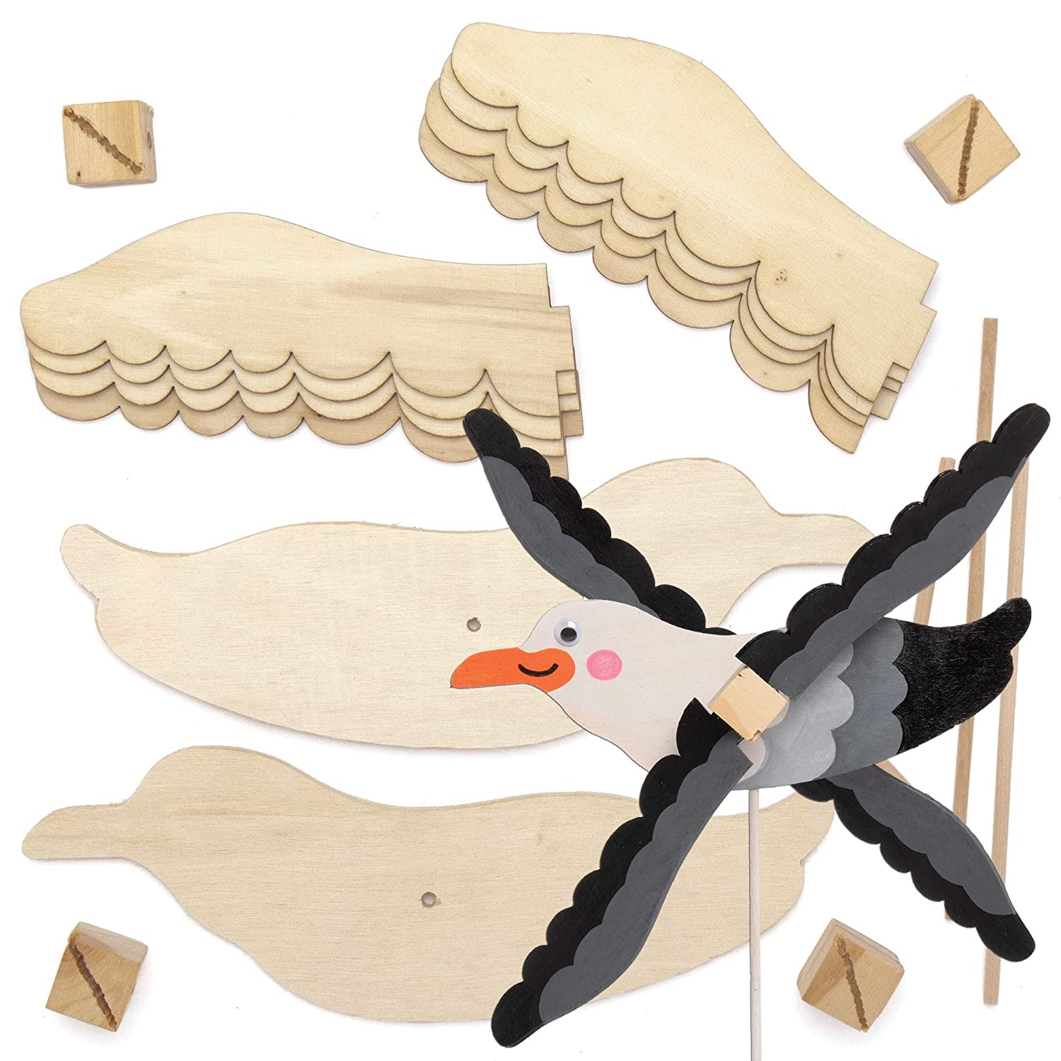 Baker Ross AT839 Seagull Wooden Windmill Kits - Pack of 2, for Kids Arts and Crafts Projects