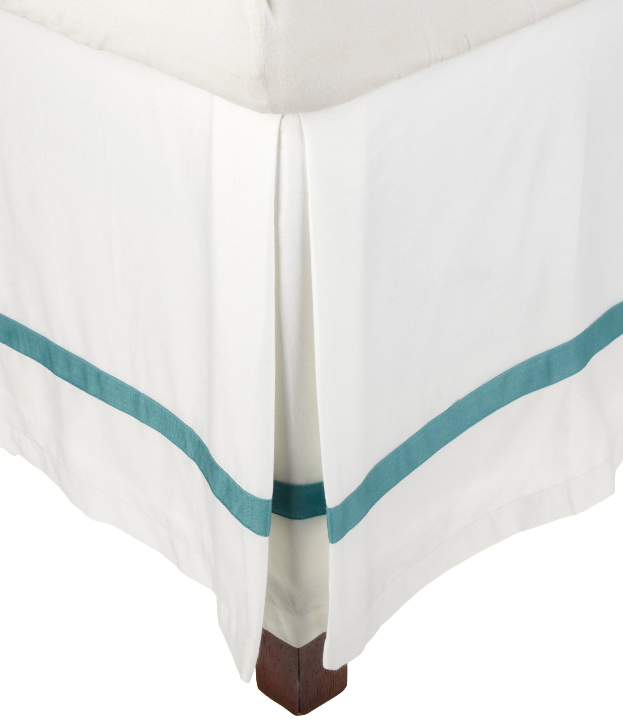 Superior 300 Thread Count 100% Cotton, Hotel Collection, 15 Inch Drop,  King Bed Skirt, White with Turquoise