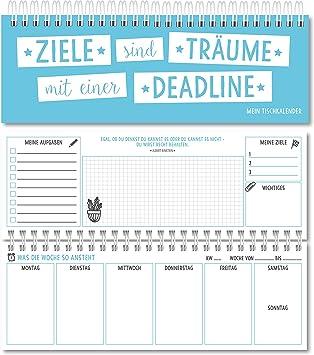 Mesa Calendario planificador semanal Calendario Agenda 2018 2019 sin festes Fecha para 365 días (Azul): Amazon.es: Oficina y papelería