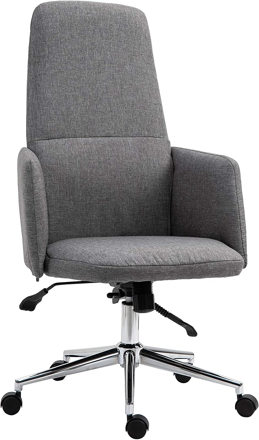 Vinsetto SOHO Style High Back Office Computer Chair with Breathable Fabric, Padded Armrest, and Swivel Wheels, Grey