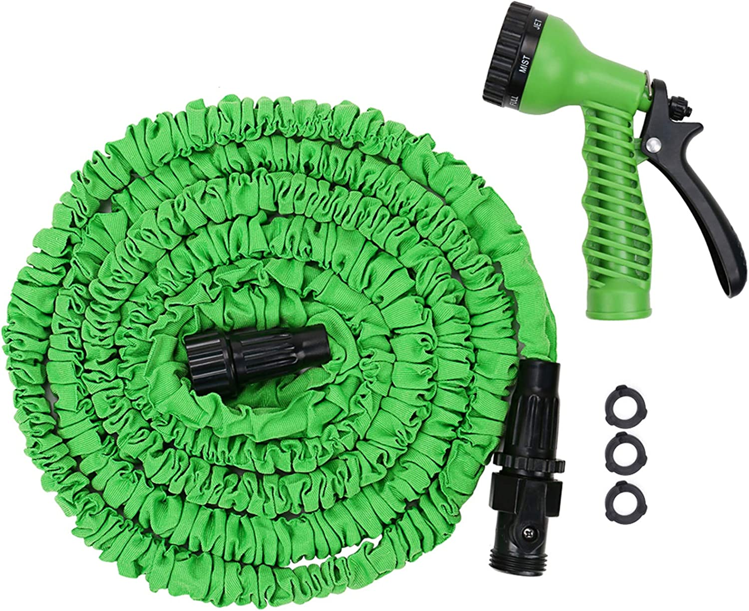 Micnaron Garden Hose,Green Water Hose, 50FT Expandable Garden Water Hose, Double Latex Core - Extra Strength Fabric Protection - 8 Functions Spray Nozzle, Collapsible Hose for Flowers and Plants