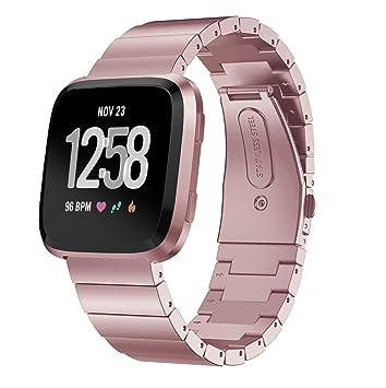 GOSETH Correa de Repuesto para Reloj de Pulsera Fitbit Versa, de Acero Inoxidable Macizo, para Mujeres y Hombres, para Fitbit Versa Fitness Smart ...