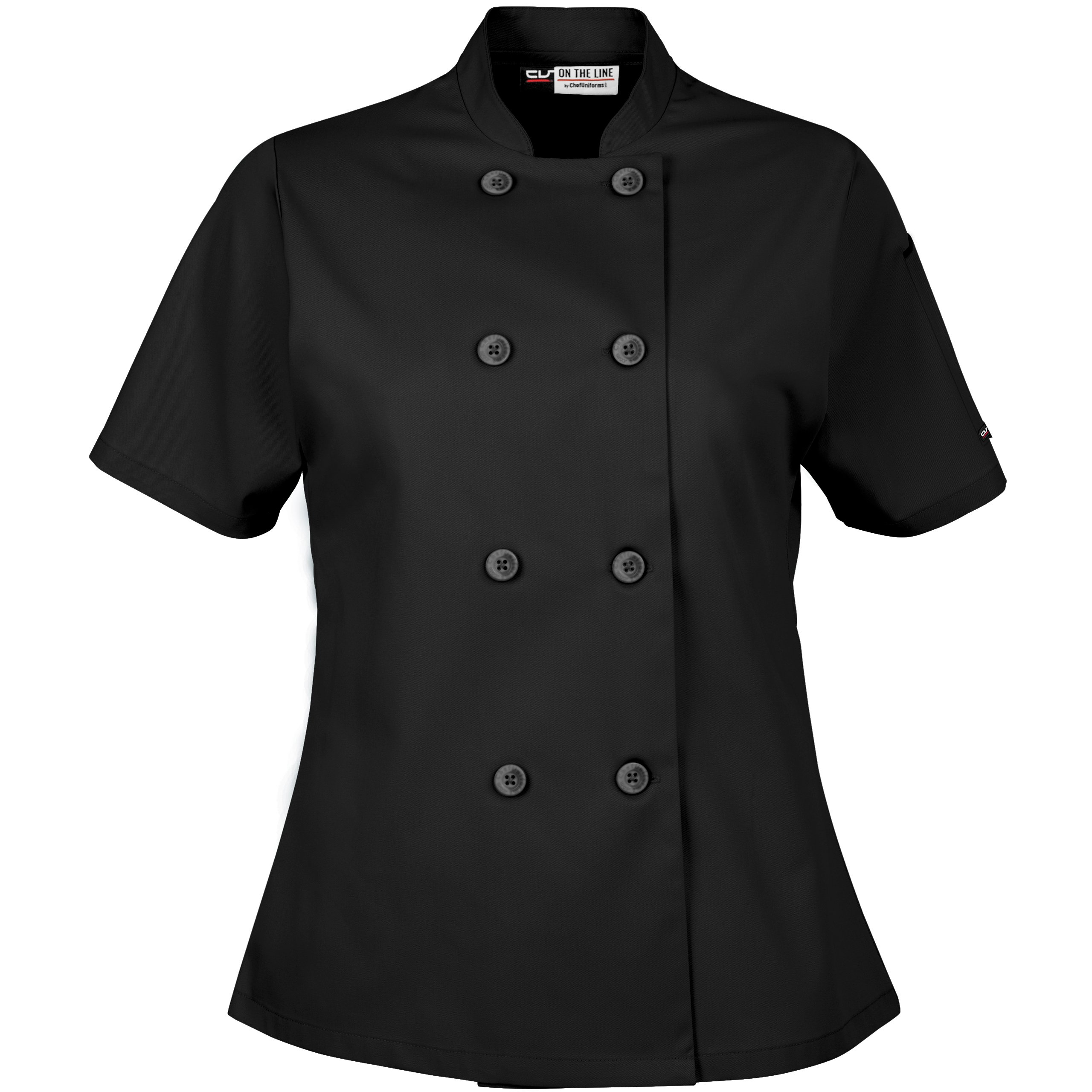 On The Line Women's Short Sleeve Chef Coat/Double Breasted/Plastic Button Reversible Front Closure (S-2X, 2 Colors) (Small, Black) by On The Line (Image #2)