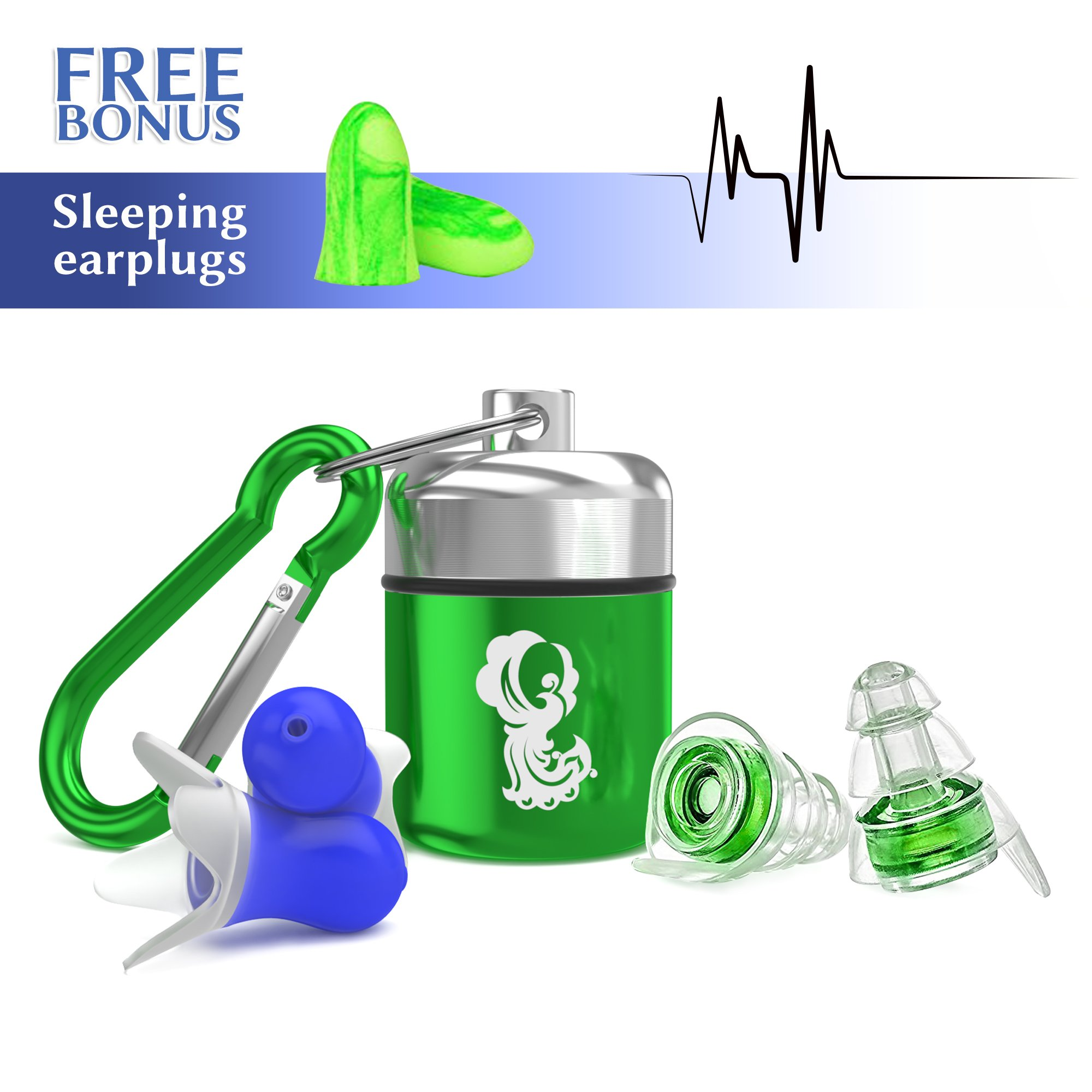 High Fidelity Earplugs Noise reduction Silicone Ear Plugs with Aluminum Carry Case for Sleeping, Studying, Snoring, Concerts, Traveling and Loud Events