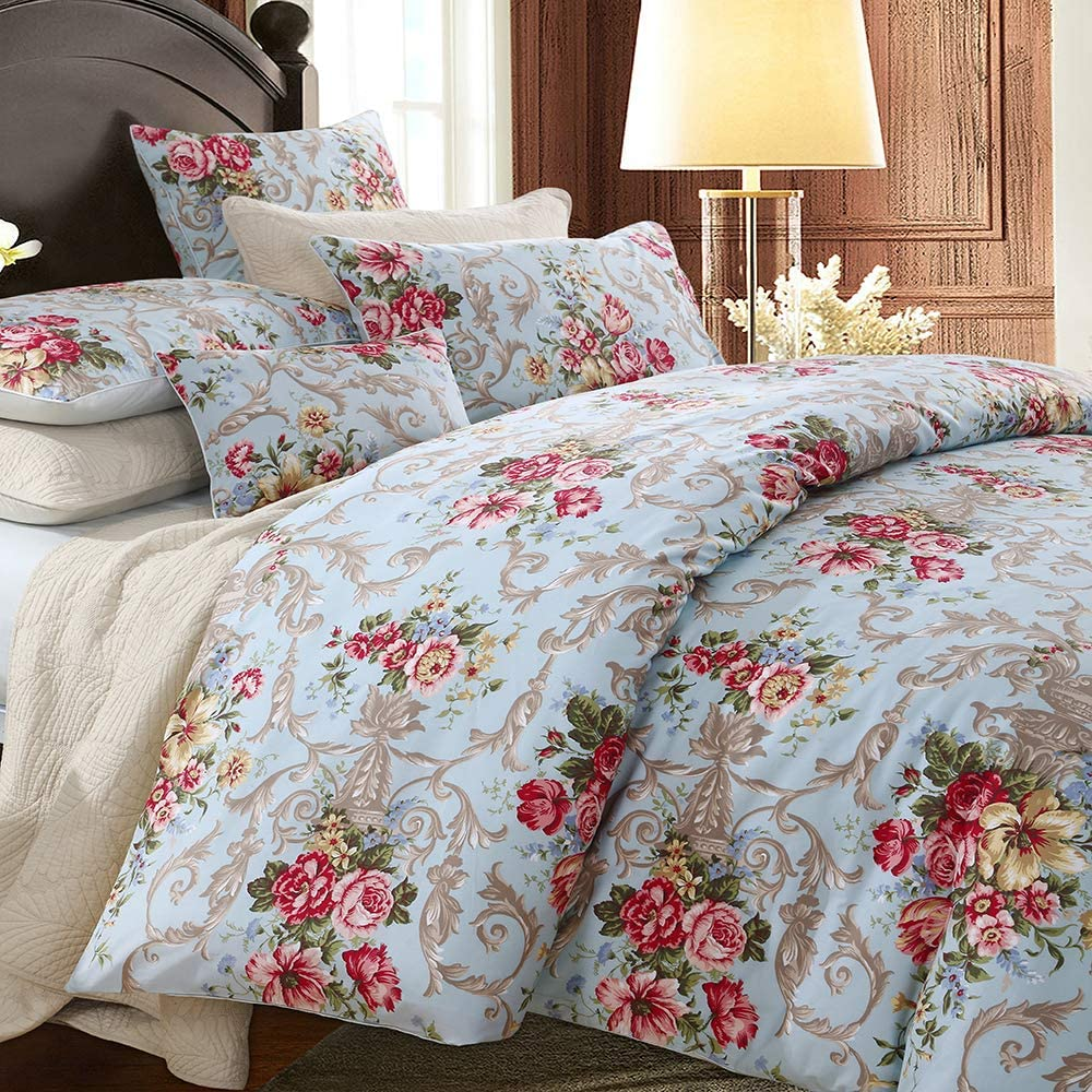 Softta Boho Chic Shabby Floral Classic Luxury Collection Elegant Peony And Leaves Bedding Sets Design Queen Size 3Pcs 1 Duvet Cover 2 Pillowcases/shams 100% Egyptian Cotton Duvet Cover Set