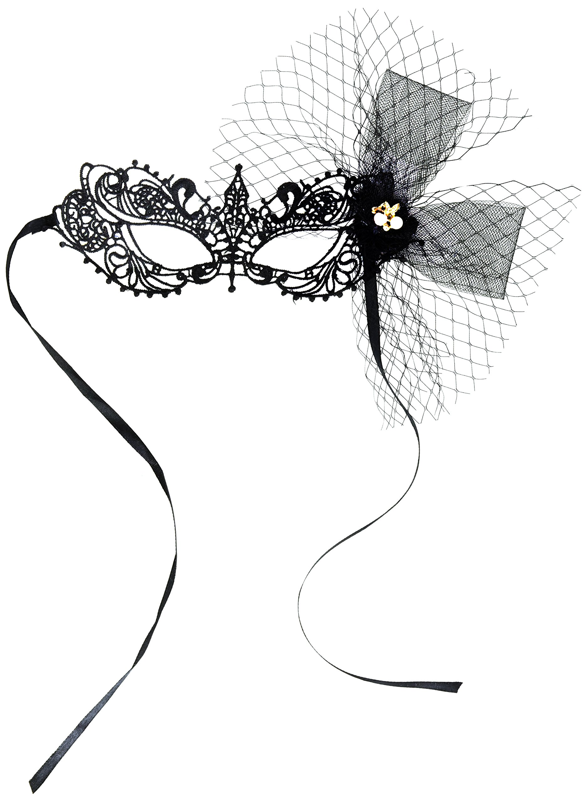 Meiliy Women Lace Venetian Masquerade Mask with Rhinestones for Party Ball Prom Mardi Gras Wedding