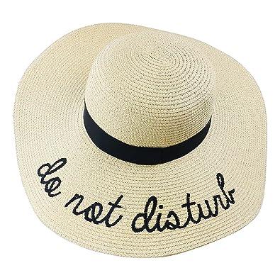 mi ji Sombrero de Paja Ajustable para Mujeres con Los Bordados Frases Do  Not Disturb de bd355851a5b1
