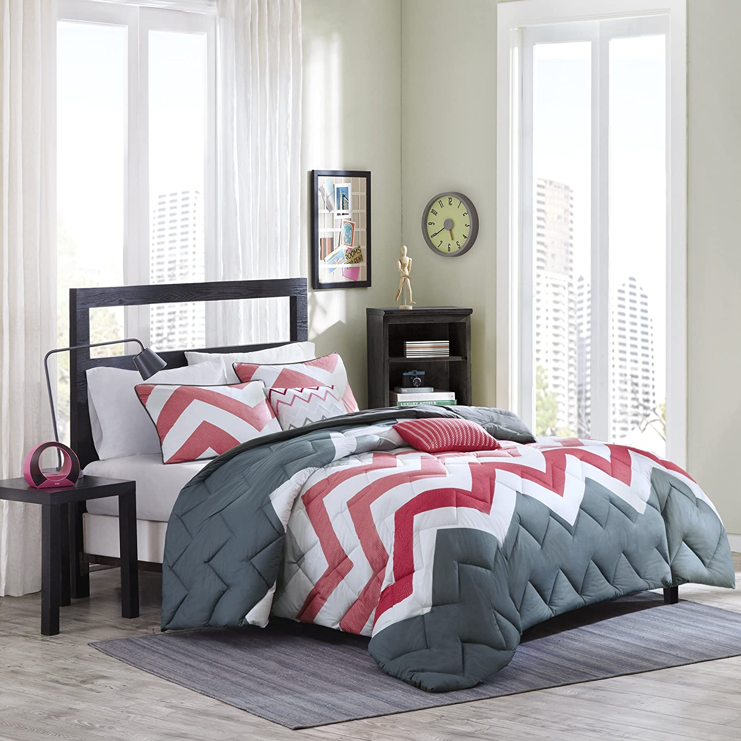 Cozy Soft - Jamie Comforter Set - 5 Piece - Coral, White, Gray - Chevron, Solid Pattern - Full/Queen size